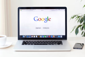 Google Search Screen website on a laptop computer